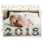 Happy New Year 2018 bold gold, black photo Card
