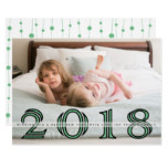 Happy New Year 2018 bold sea green, black photo Card