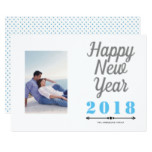 Happy New Year 2018 bold typography blue photo Card