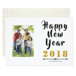 Happy New Year 2018 calligraphy script photo Card