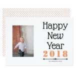 Happy New Year 2018 typography coral simple photo Card