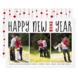 Happy New Year bold typography three photo collage Card