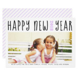 Happy New Year holiday typography lavender photo Card