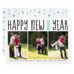 Happy New Year typography three photo collage aqua Card