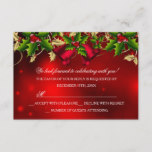 Holly Leaves & Bell Red Christmas Party RSVP