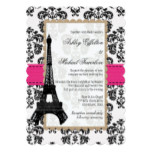Hot Pink and Black Damask Eiffel Tower Wedding Invitation