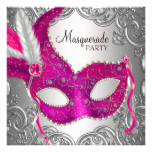 Hot Pink and Silver Mask Masquerade Party Card