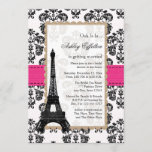 Hot Pink Eiffel Tower Parisian Bridal Shower Invitation