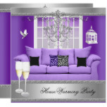 HouseWarming Party Champagne Chandelier Sofa Card