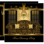 HouseWarming Party Chandelier Ornate Gold Black Card