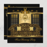 HouseWarming Party Chandelier Ornate Gold Black Invitation