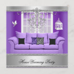 HouseWarming Party Chandelier Purple Sofa Silver Invitation
