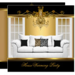 HouseWarming Party Chandelier Rich Gold Black Card