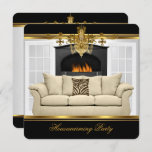 Housewarming Party Chandelier Rich Gold Black Invitation