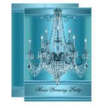 HouseWarming Party Chandelier Rich Teal Blue Card