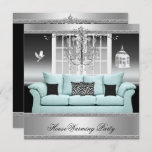 HouseWarming Party Chandelier Teal Silver White Invitation