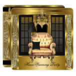 Housewarming Party Damask Chandelier Gold Chair Card