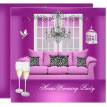 HouseWarming Pink Champagne Chandelier Sofa Card