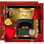 Housewarming Red Gold Roses Decor Wine Glass Card