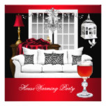 HouseWarming Red White Black Chandelier RED Card