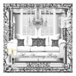 HouseWarming Silver White Champagne Chandelier Card