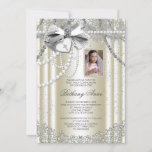 Ivory Pearl Cross Photo First Communion Invitation