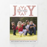 Joy to the world rose gold glitter Christmas photo Tri-Fold Holiday Card