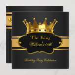 King Royal Black Gold Birthday Party Mens Mans Invitation