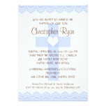 Lace Cross Baby Boy Baptism Inviation Card