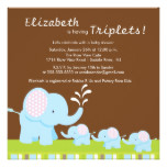 Mama & Baby Elephants Triplets Baby Shower Card