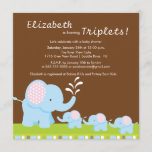 Mama & Baby Elephants Triplets Baby Shower Invitation