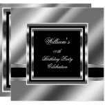 Mans Elegant Black Silver Birthday Party Mens 2 Invitation