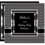 Mans Elegant Black Silver Birthday Party Mens Invitation