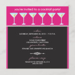 Martini Glasses Cocktail Party Invite (fuschia)