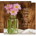 Mason Jar Pink Daisies Country Post Wedding Brunch Card