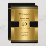 Men's 50th Birthday Party Gold Black Vintage 2 Invitation