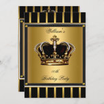 Men's Elegant Gold Black Stripe Birthday Crown 2 Invitation