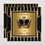 Men's Elegant Gold Black Stripe Birthday Crown Invitation