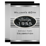 Men's Vintage 60th Silver Metal Black Birthday 2 Invitation