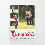 Merriest Christmas holly berry and photo collage Tri-Fold Holiday Card