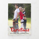 Merriest Christmas holly berry Christmas photo Tri-Fold Holiday Card