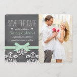 Mint Chalkboard Lace and Bow Save the Date Card
