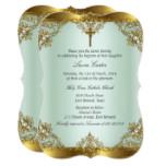 Mint Gold Pearl Damask Cross Baptism Christening 3 Card