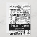 mod typography black white Graduation Invitation