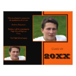 Modern Black and Orange Quad Graduation Card