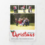 Modern Merriest Christmas photo collage Tri-Fold Holiday Card
