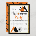 Modern triangles bats and spider web Halloween Invitation