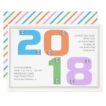 Modern typography New Year's 2018 eve party Card