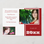 Modern White and Red Graduation Announcement