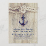 Navy Blue Anchor Rustic Nautical Rehearsal Dinner Invitation